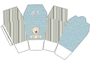 Caixa China in Box Ursinho Fofo Azul e Marrom: