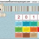 Calendário 2012 Ursinho Fofo Azul e Marrom: