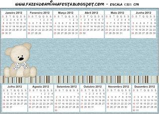 Convite Calendário 2012 Ursinho Fofo Azul e Marrom: