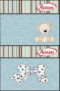 Rótulo Chiclets Adams Ursinho Fofo Azul e Marrom:Rótulo Chiclets Adams Ursinho Fofo Azul e Marrom: