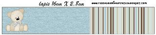 Rótulo Lápis Ursinho Fofo Azul e Marrom: