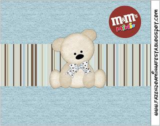 Rótulo Mini M&M Ursinho Fofo Azul e Marrom: