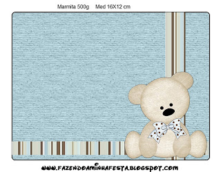 Marmita 500gr Ursinho Fofo Azul e Marrom: