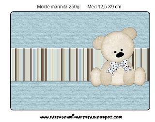 Marmita 250gr Ursinho Fofo Azul e Marrom: