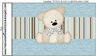 Tubetes Ursinho Fofo Azul e Marrom: