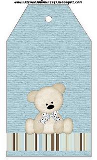 Tag Agradecimento Ursinho Fofo Azul e Marrom: