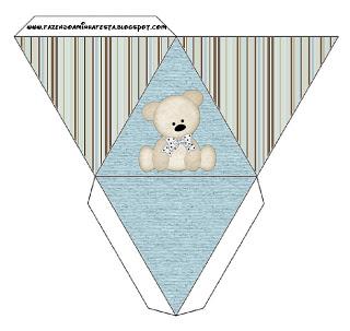 Caixa Pirâmide Ursinho Fofo Azul e Marrom: