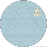 Convite Triangular Transpassado Ursinho Fofo Azul e Marrom: