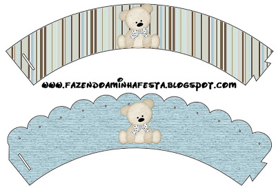 Saias Wrappers para Cupcakes Ursinho Fofo Azul e Marrom: