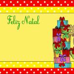 Natal Rena Poá Vermelho e Amarelo – Kit Completo com molduras para convites, rótulos para guloseimas, lembrancinhas e imagens!