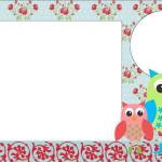 Corujinhas com Flores Vermelho e Azul – Kit Completo com molduras para convites, rótulos para guloseimas, lembrancinhas e imagens!