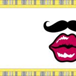 Bigodes e Bocas Fundo Amarelo – Kit Completo com molduras para convites, rótulos para guloseimas, lembrancinhas e imagens!