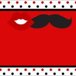 Bigodes e Bocas Fundo Vermelho Preto e Branco – Kit Completo com molduras para convites, rótulos para guloseimas, lembrancinhas e imagens!