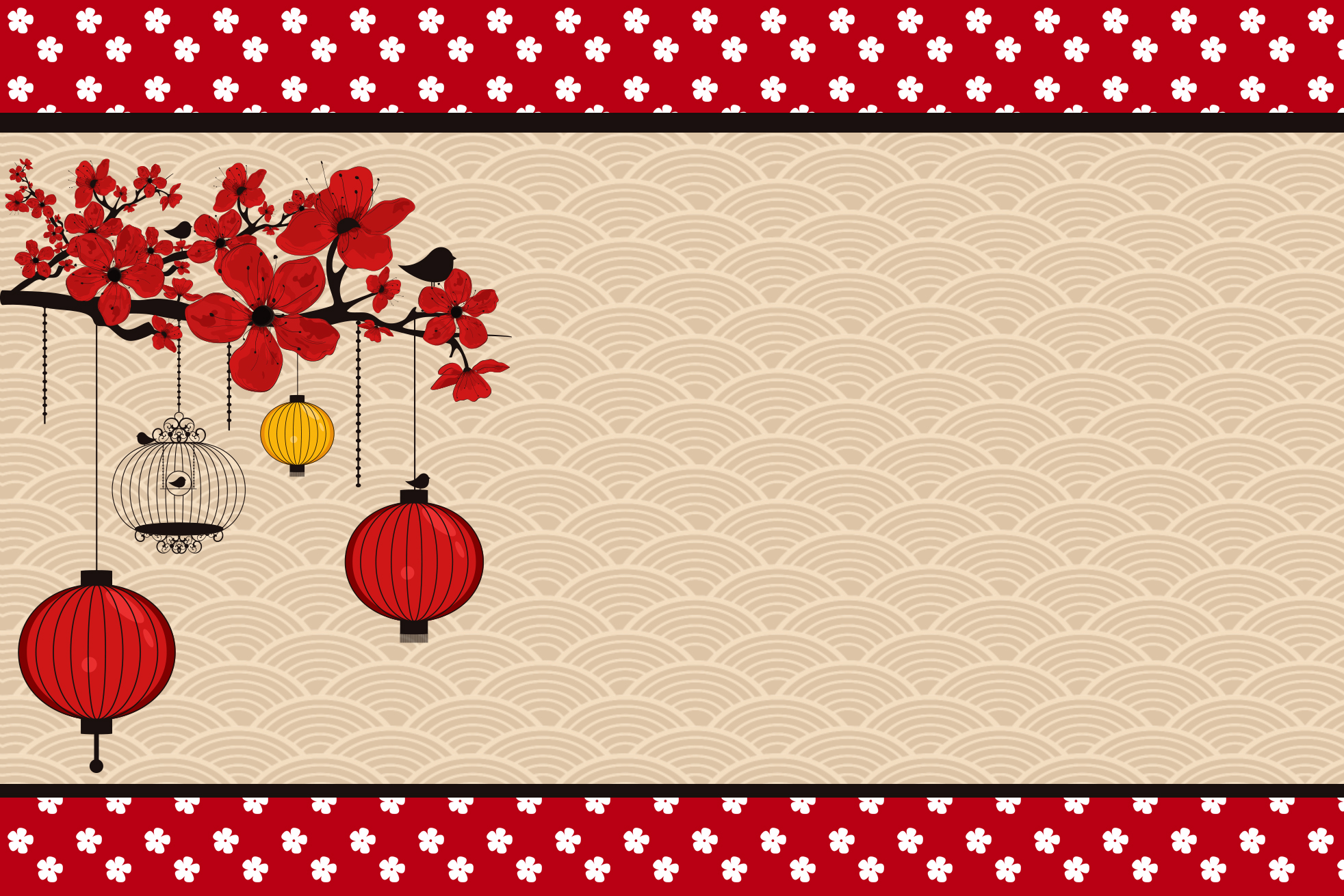 Convite Moldura e Cartão Oriental Japonês: