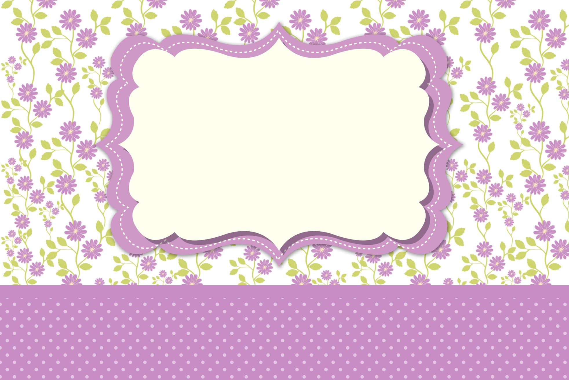 Moldura Convite e Cartão Floral Lilás:
