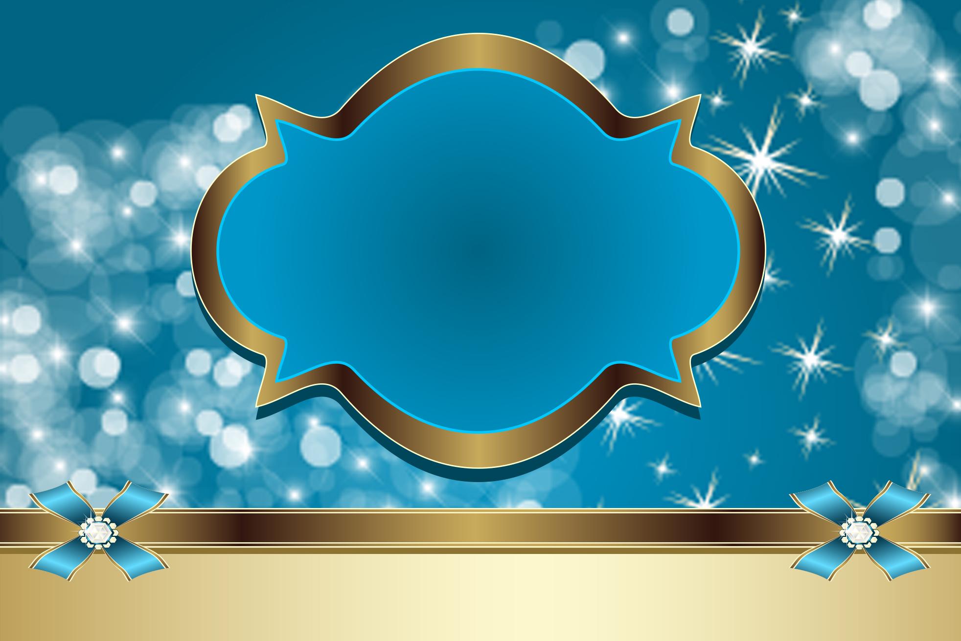 Moldura Convite e Cartão Azul e Dourado: