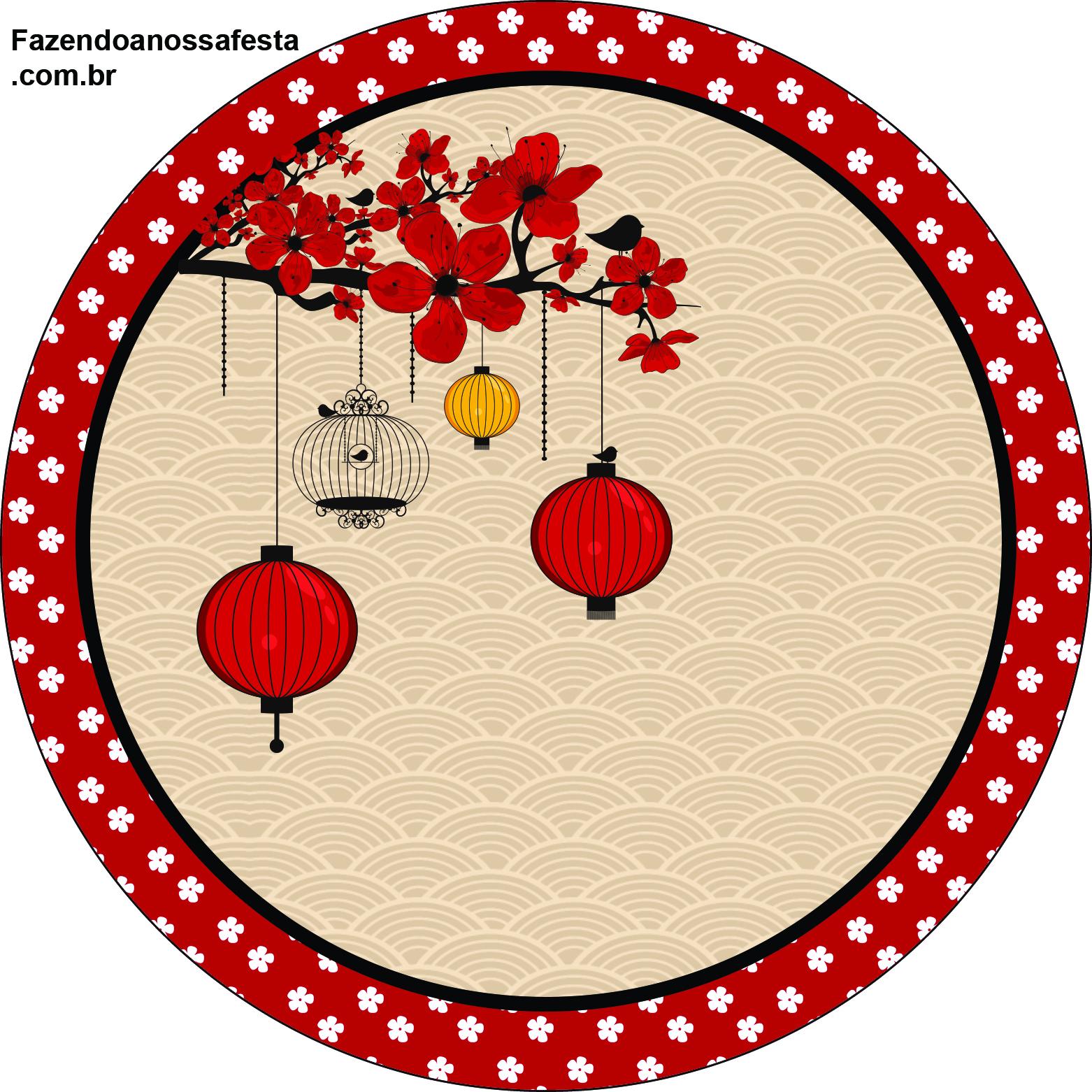 Rótulos para: Latinha,Gelatina,Tampinhas,Adesivos,Marmita Redonda e Toppers Cupcakes  Oriental Japonês: