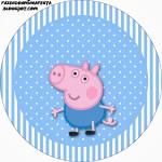 Rótulos para: Latinha,Gelatina,Tampinhas,Adesivos,Marmita Redonda e Toppers Cupcakes  George Pig (Peppa Pig):