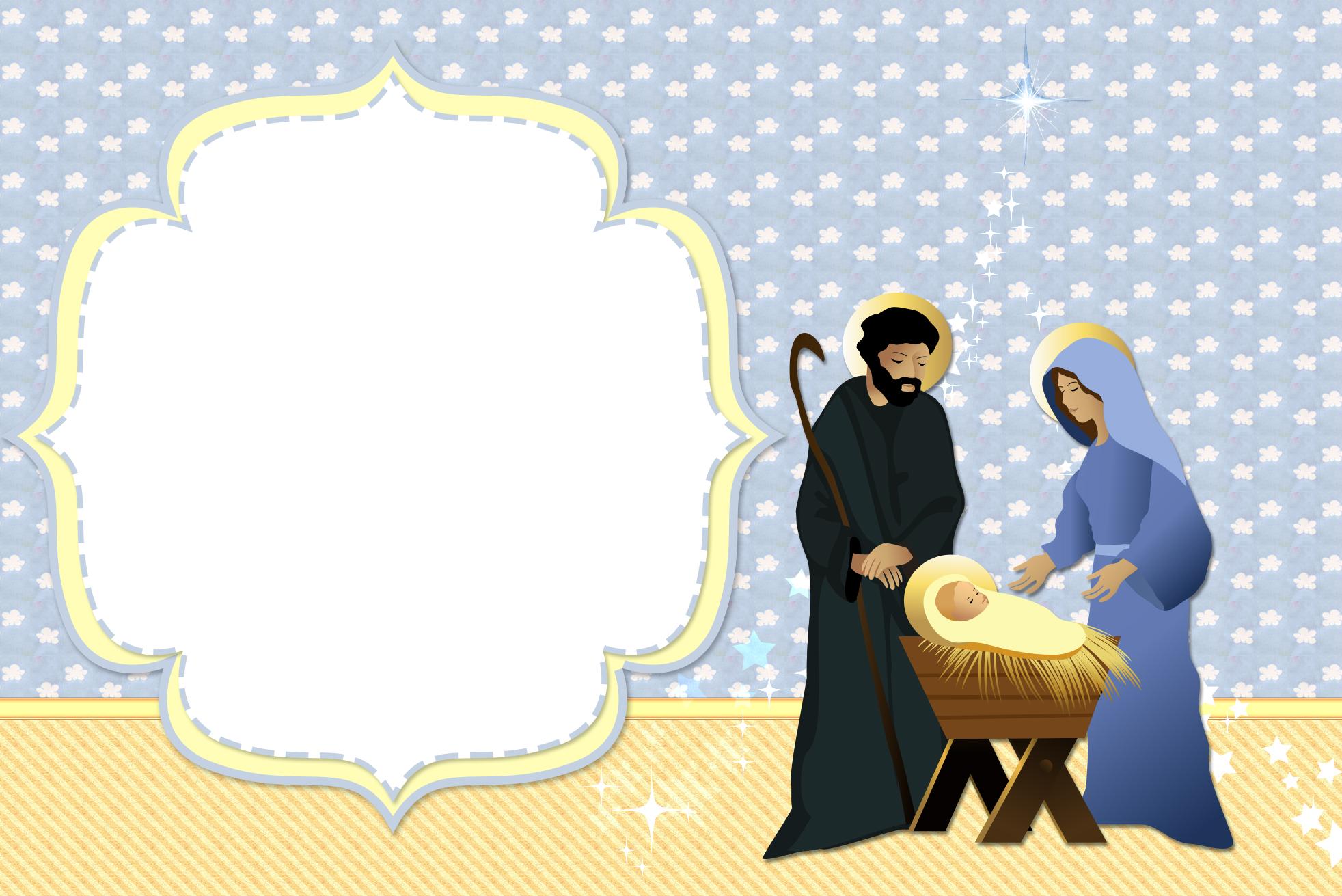 Convite Moldura e Cartão Nascimento Menino Jesus (Natal):