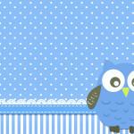 Moldura Convite e Cartão Corujinha Azul para Menino: