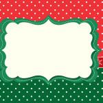 Fundo Poá Verde e Vermelho – Kit Completo com molduras para convites, rótulos para guloseimas, lembrancinhas e imagens!