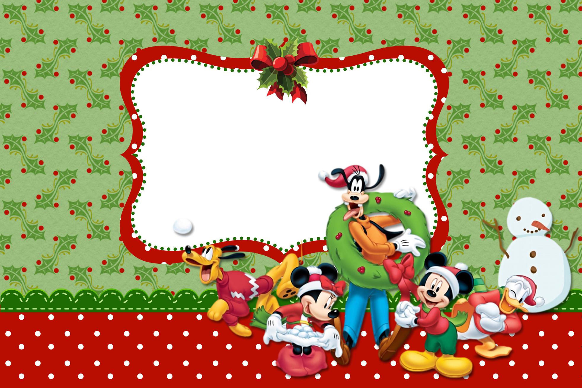 Moldura Convite e Cartão Natal Mickey e Minnie:
