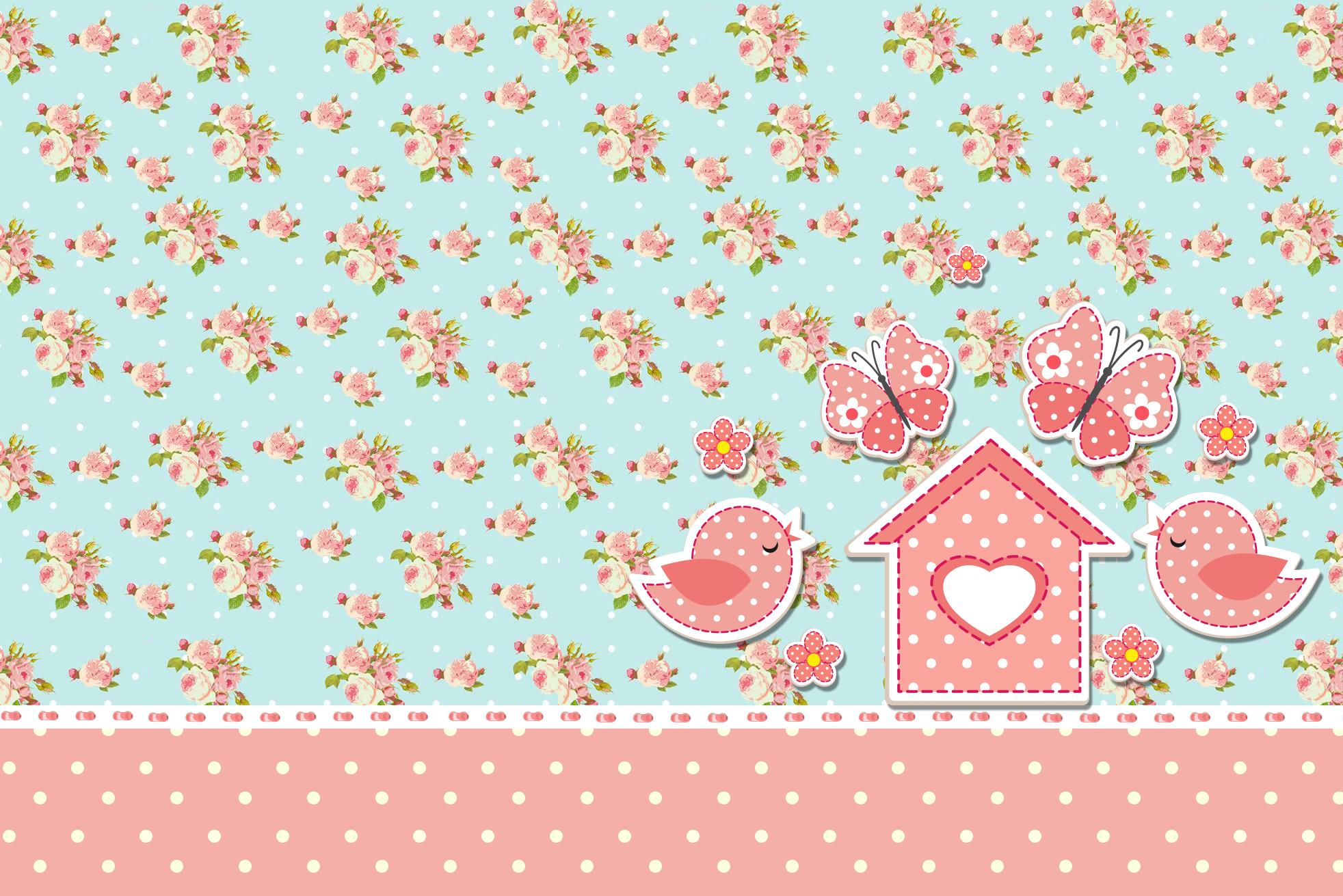 Moldura Convite e Cartão Jardim Encantado Vintage Floral: