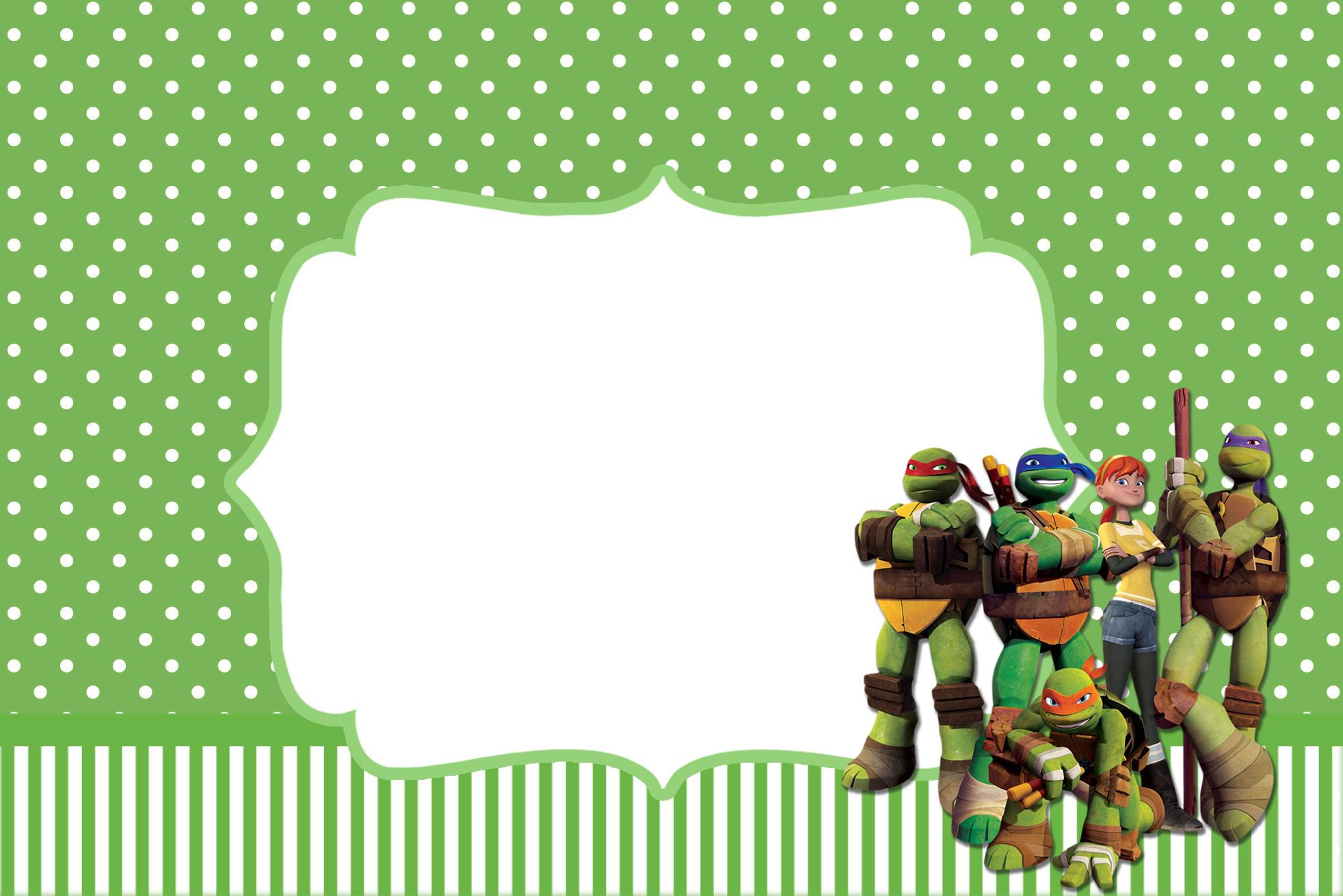 Moldura Convite e Cartão Tartarugas Ninjas: