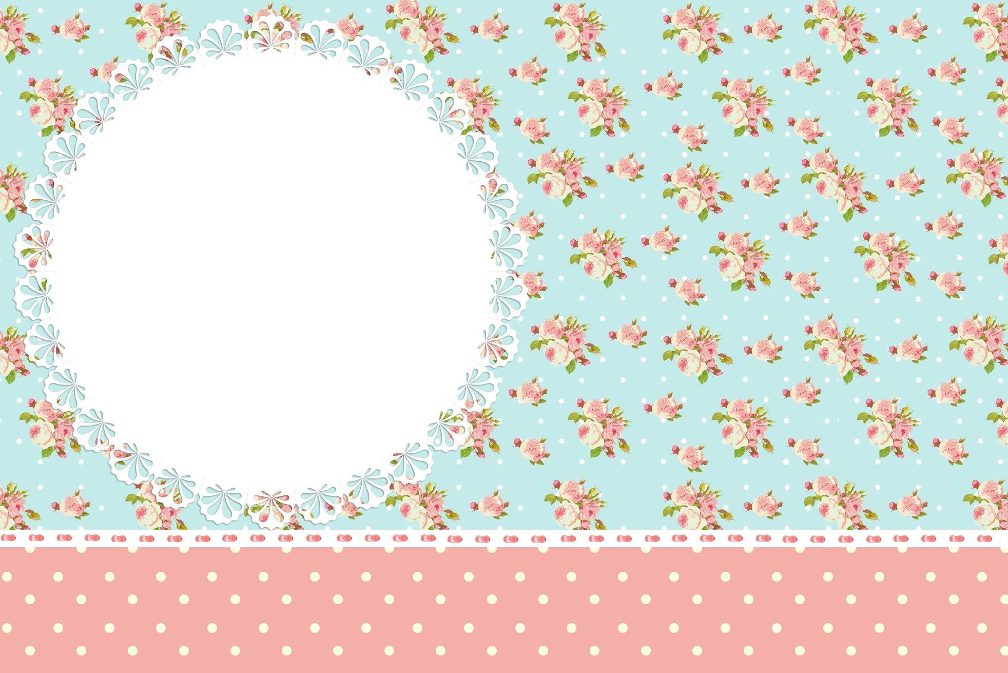 Convite Moldura e Cartão Floral Vintage Rosa e  Azul :