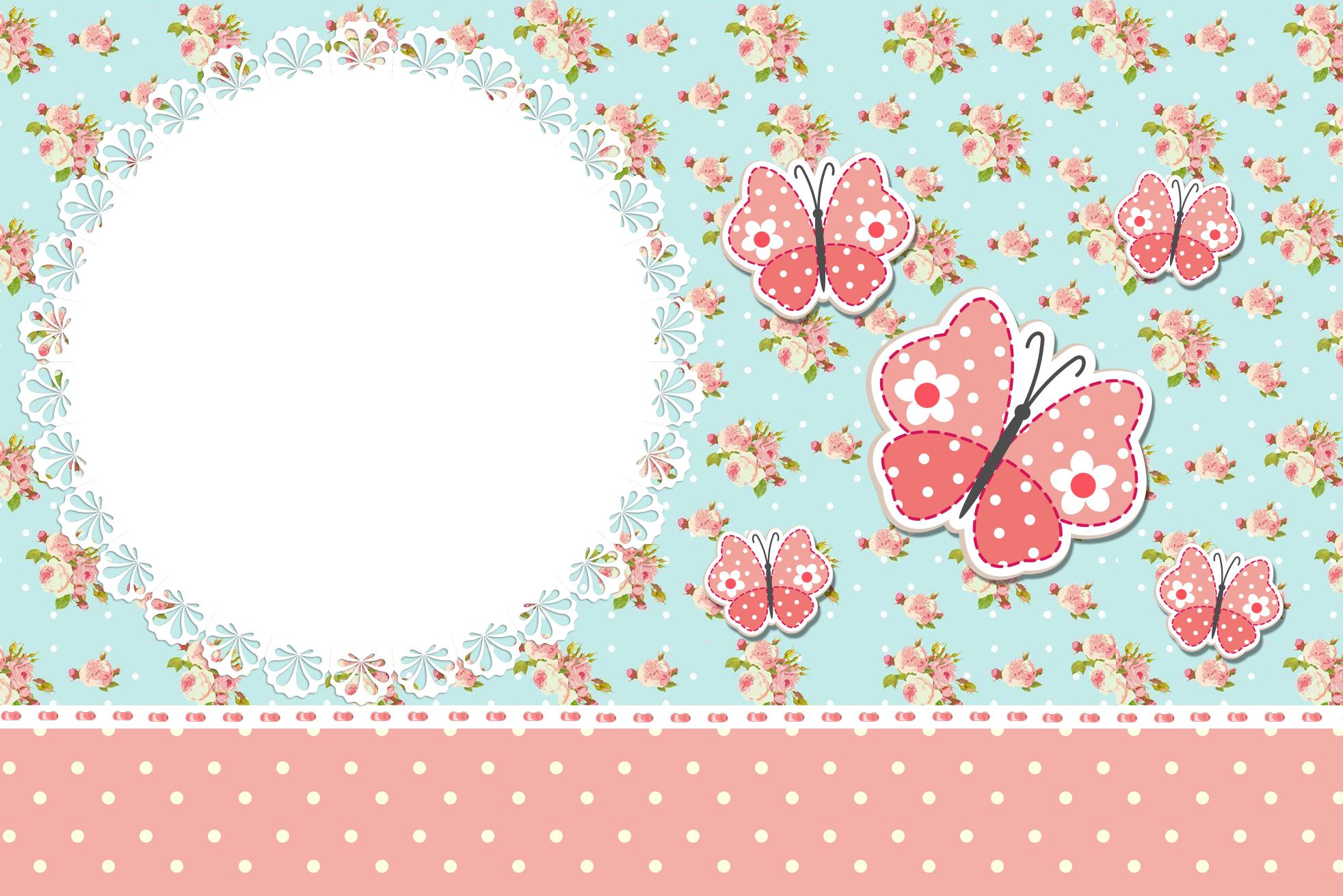 Moldura Convite e Cartão Jardim Encantado Vintage Floral