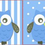 Bandeirinha Sanduiche Corujinha Azul para Menino: