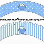 Saias Wrappers para Cupckes Corujinha Azul para Menino: