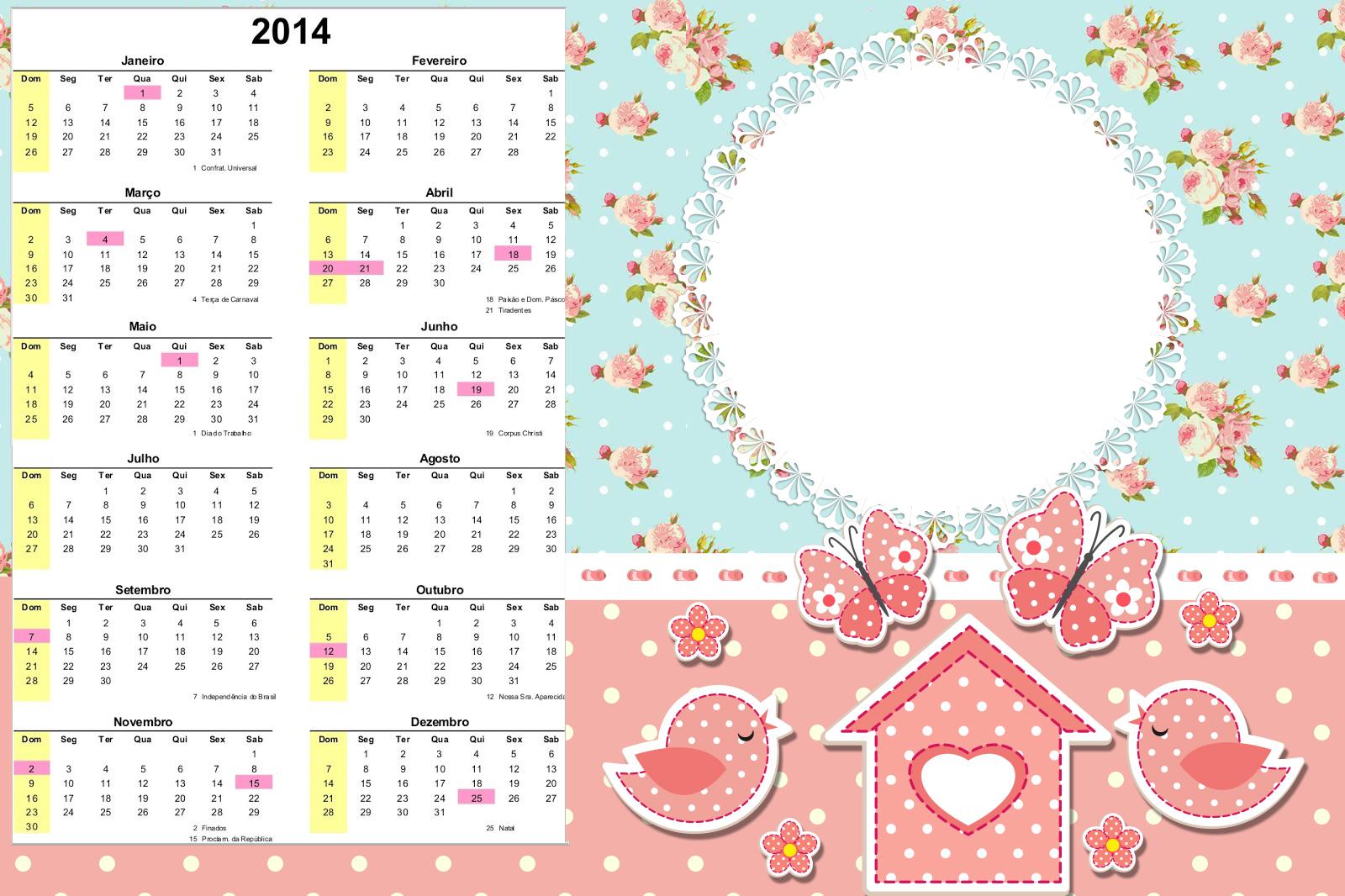 imagens de jardim encantado para convites:Convite Calendário 2014 Jardim Encantado Vintage Floral:
