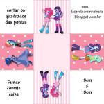Convite Caixa Fundo Equestria Girls (My Little Pony):