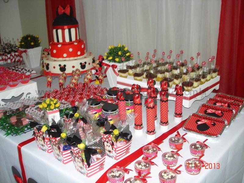 Caixinhas Mesa de Doces Festa tema Minnie Doces e Bolo Caixinhas