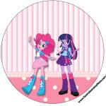 Rótulos para: Latinha,Gelatina,Tampinhas,Adesivos,Marmita Redonda e Toppers Cupcakes Equestria Girls (My Little Pony):