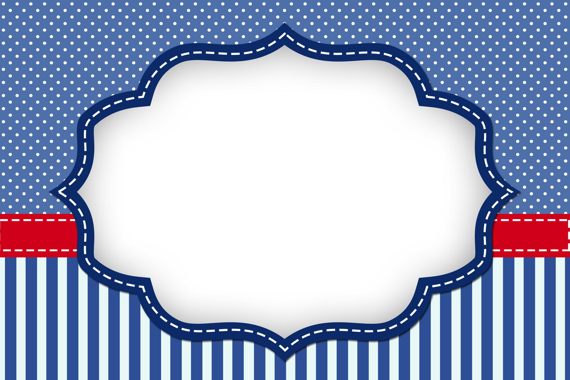 Moldura Convite e Cartão Poá Azul e Listras: