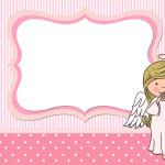 Batizado para meninas anjinha – Kit Completo Digital com molduras para convites, rótulos para guloseimas, lembrancinhas e imagens!
