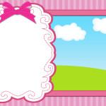 Céu, Grama, Nuvens e Fundo Listrado Rosa – Kit Completo Digital com molduras para convites, rótulos para guloseimas, lembrancinhas e imagens!
