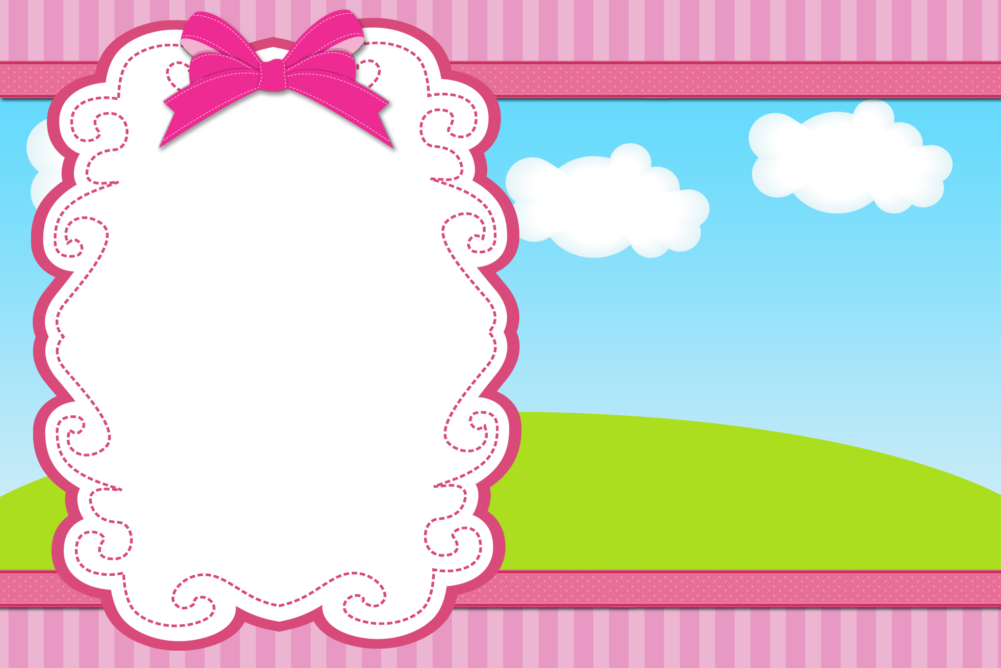 Moldura Convite e Cartão Céu, Grama, Nuvens e Fundo Listrado Rosa:
