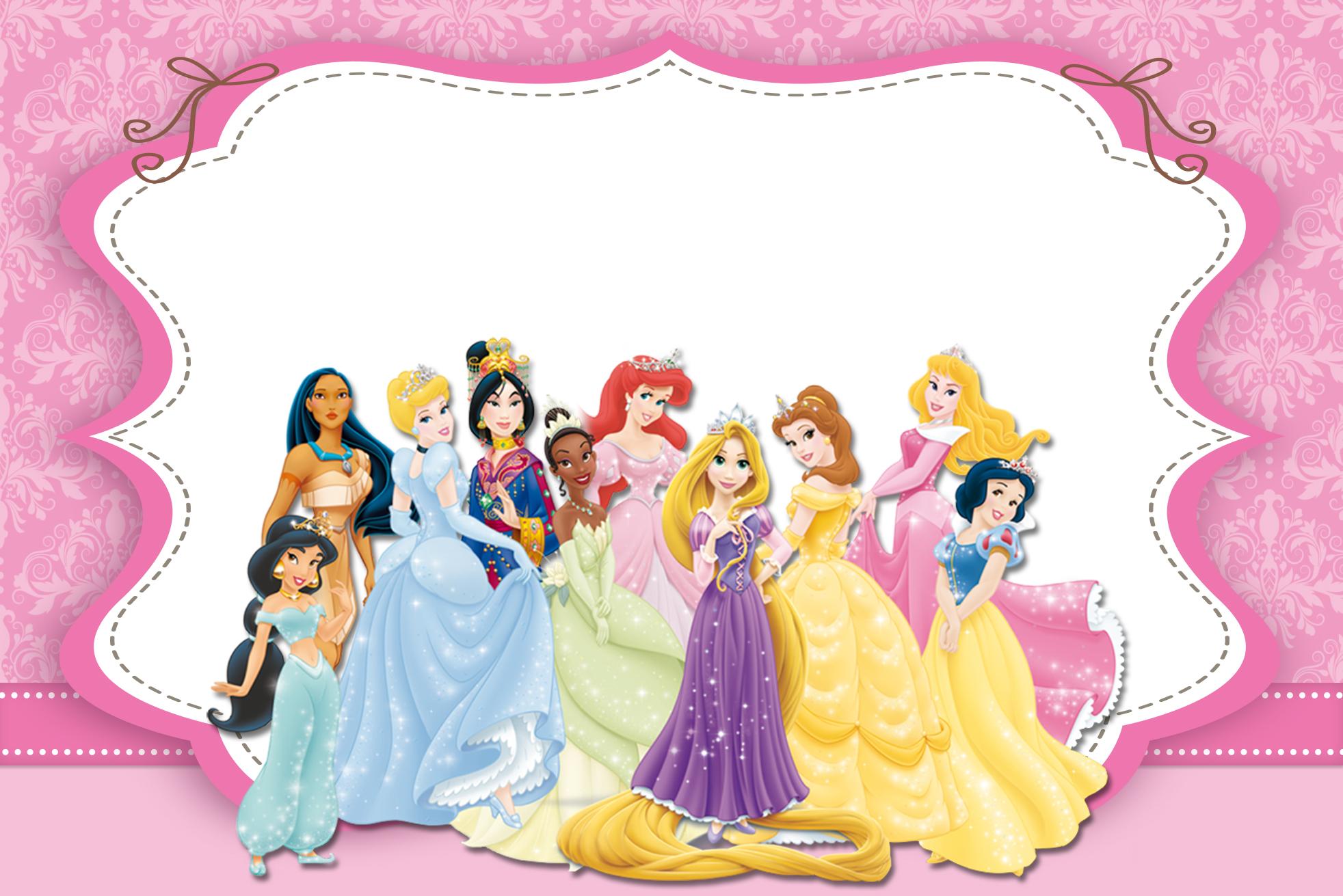 Moldura Convite e Cartão Princesas da Disney: