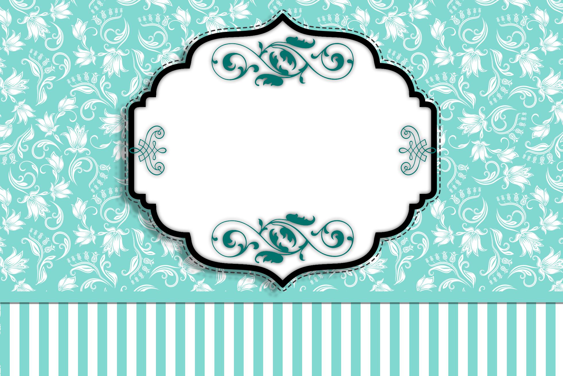 Azul Tiffany Floral e Listras – Kit Completo com molduras para  #319A90 1964x1311 Banheiro Azul Tiffany