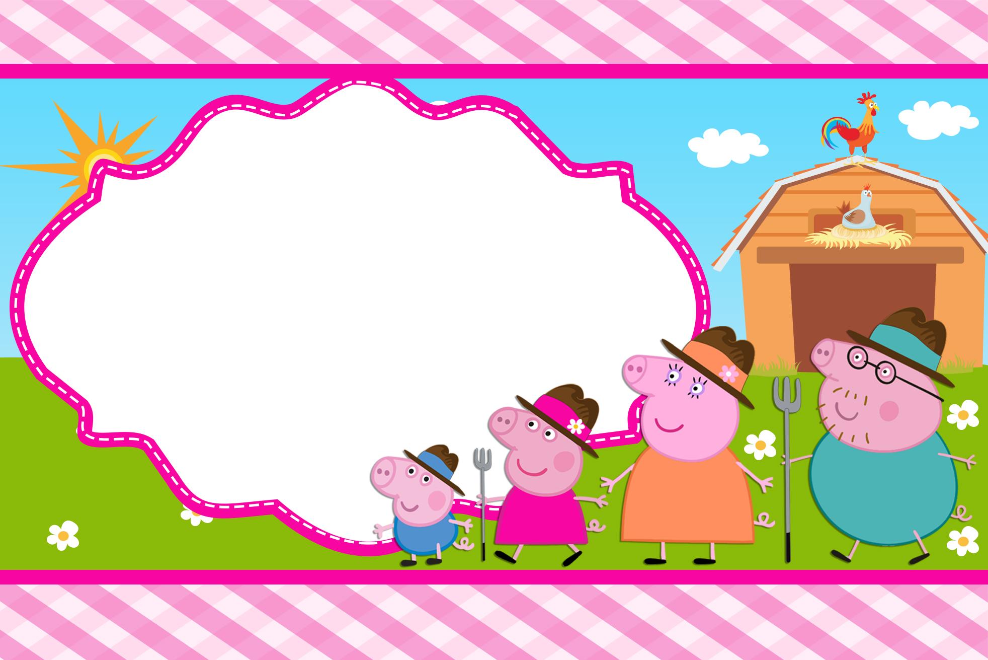 Moldura Convite e Cartão Peppa Pig na Fazenda: