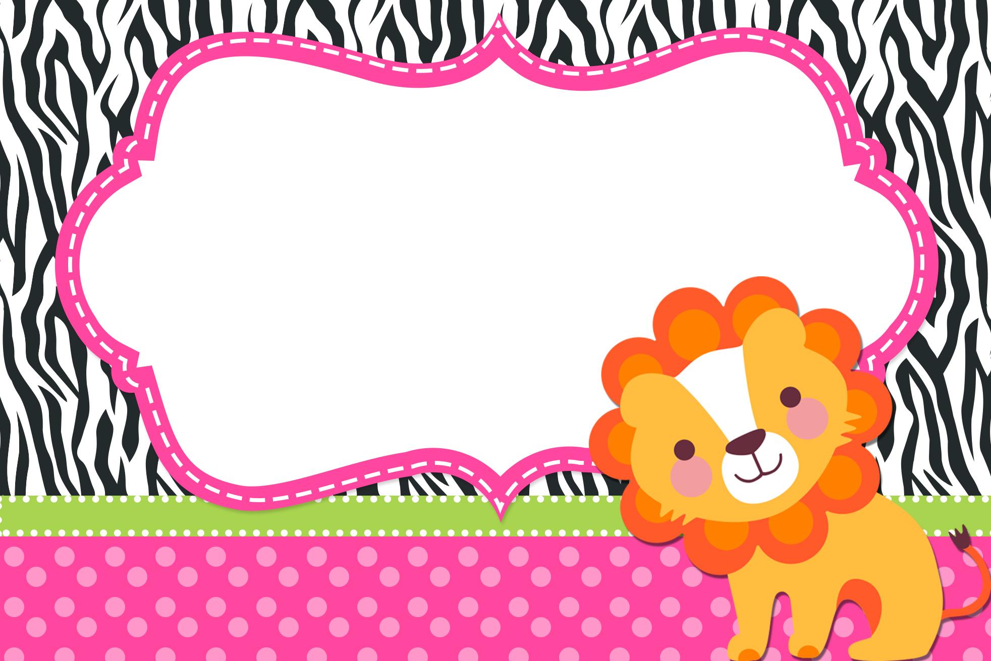 Convite Moldura e Cartão Safari para Meninas: