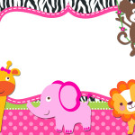 Safari para Meninas – Kit Completo Digital com molduras para convites, rótulos para guloseimas, lembrancinhas e imagens!