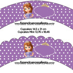 Saias Wrappers para Cupcakes Princesa Sofia da Disney: