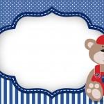 Ursinho com Boné – Kit Completo Digital com molduras para convites, rótulos para guloseimas, lembrancinhas e imagens!