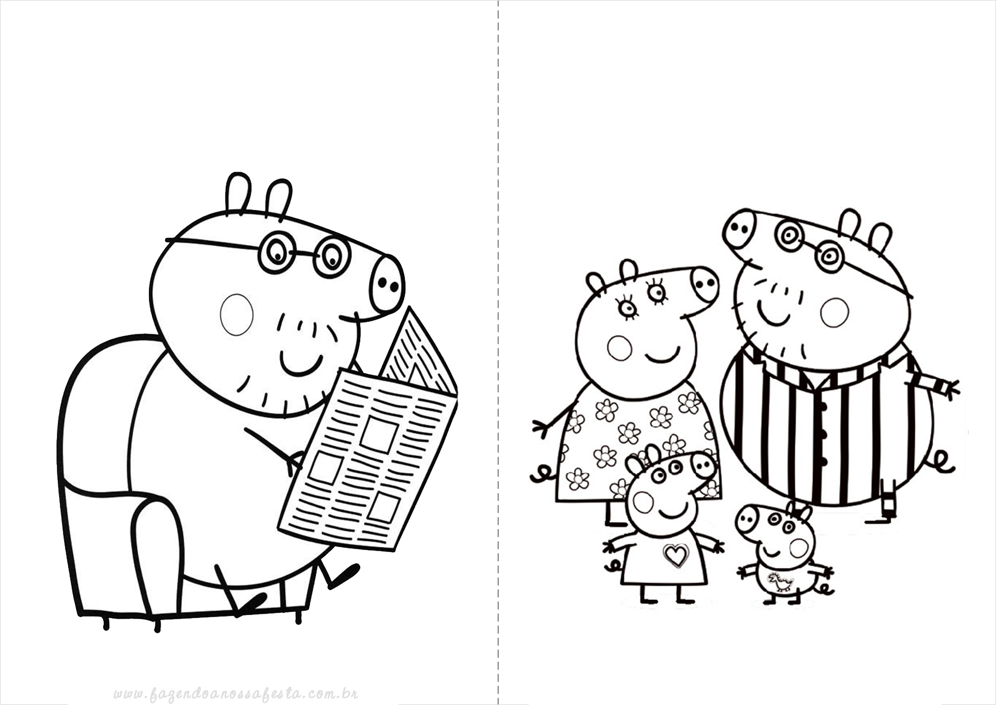 Peppa Pig s family and the puddles coloring page printable game.