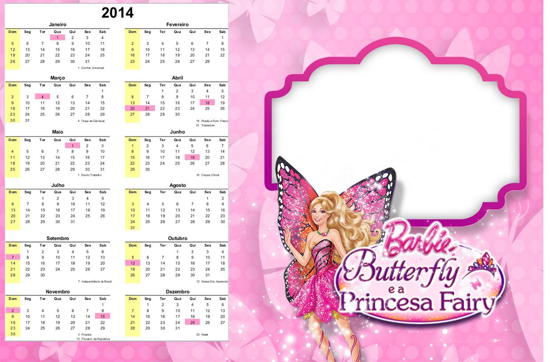 Convite Calendário 2014 Barbie Butterfly: