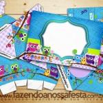 Corujinhas Lilas e Azul – Kit Completo Digital com molduras para convites, rótulos para guloseimas, lembrancinhas e imagens!